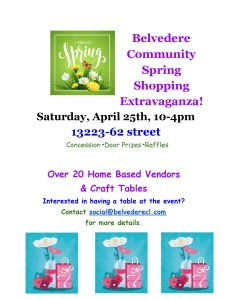 CANCELLED ! Spring Shopping Extravaganza @ Belvedere Community Hall